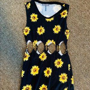 Sunflower cut-out mini dress